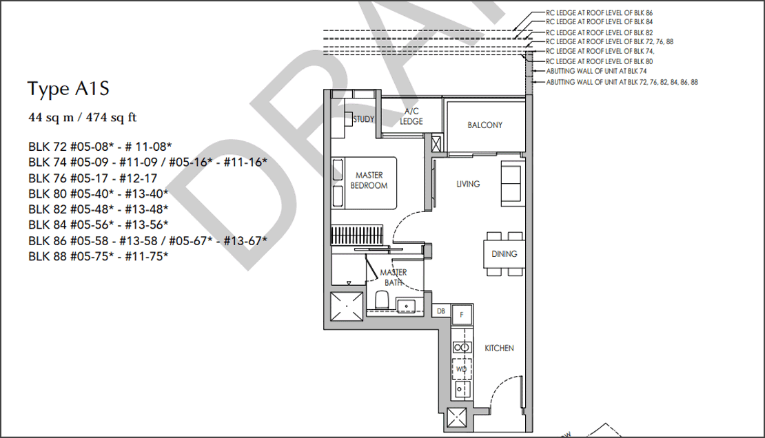 Sengkang Grand Residences 1+ Study Floorplan